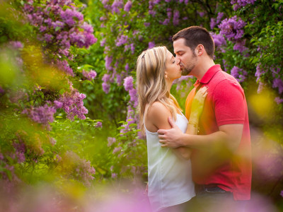 Highland Park Engagement Session during the Lilac Festival